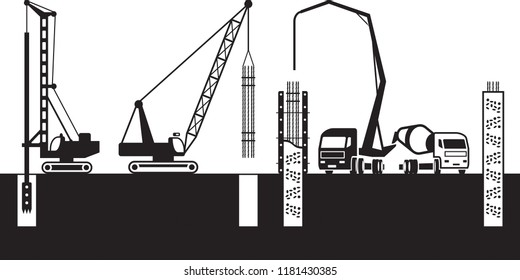 Construction machinery make foundations of a building - vector illustration