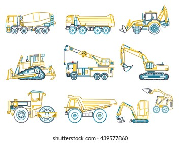 Construction machinery outlined set. Blue yellow ground works. Machine vehicles, excavator. Building equipment. Truck, digger, crane, bagger, mix. Heavy pavement foundation. Master vector illustration