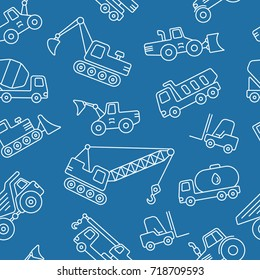 Construction machinery seamless pattern. Tiling textures with thin line icon set