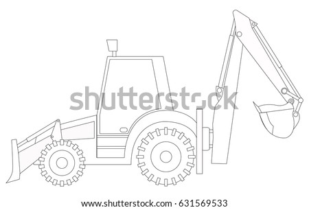 Construction Machinery Tractor Coloring Pages Children Stock