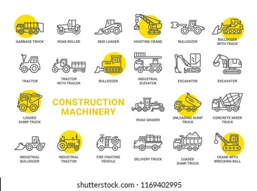 Construction Machinery vector icons