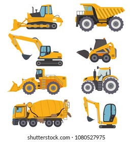 Construction machinery vehicle industry truck equipment heavy machine concrete mixer, loader and crawler crane vector illustration. Industrial building construction machinery tractor yellow truck.