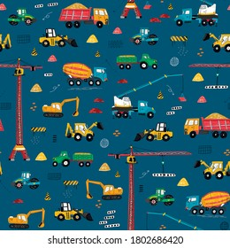 Construction machines building hand drawn doodle cartoon seamless vector pattern