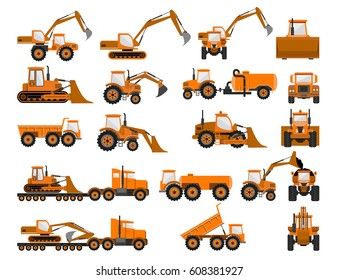Construction machines and equipment. Vector illustration