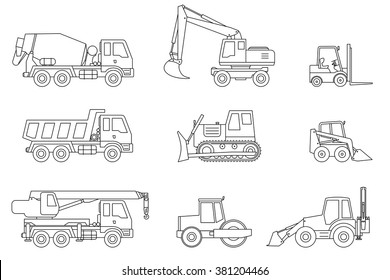 Construction machines thin icons. Vector line icons of building machinery.