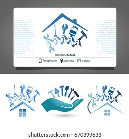 Construction and maintenance of houses business card for business
