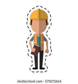 construction man helmet tool belt and helmet-cut line