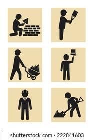 Construction man icon pictogram silhouette set