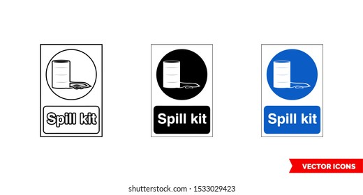 Construction mandatory sign spill kit icon of 3 types: color, black and white, outline. Isolated vector sign symbol.