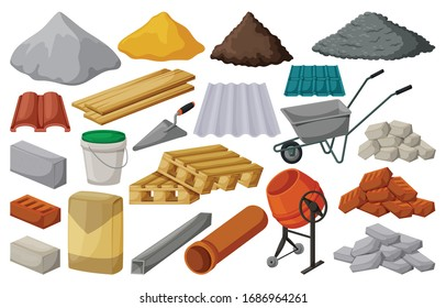 Construction material isolated cartoon set icon. Cartoon vector set icon building tools. Vector illustration construction material on white background.