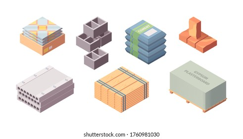 Construction materials building isometric set. Box with tiles large concrete blocks gray cinder block packaging cement bags wooden board red brick gypsum plasterboard container. Cartoon vector style