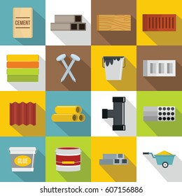 Construction materials icons set. Flat illustration of 16 construction materials vector icons for web