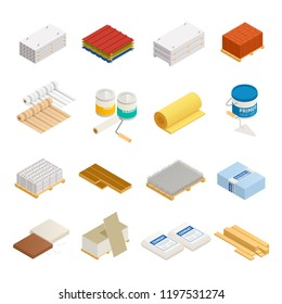 Construction materials isometric icons collection of sixteen isolated images with hardware and building supplies on blank background vector illustration