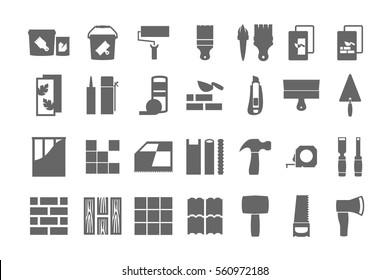 construction materials, repair icons. vector set