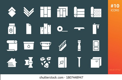 Construction materials solid icons set. Set of floor materials, ceramic tile, oak parquet, linoleum roll, laminate, floor boards, wooden stairs, house facade siding, sealant, paint can glyphs icons