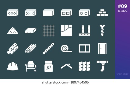 Construction materials solid icons set. Set of roof tile, gutter system, concrete mixer, cement bag, insulation roll, drywall, bricks, blocks, timber, lumber, construction helmet glyphs vector icon
