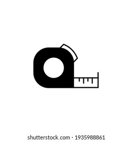 Construction measurement, measuring tape tool icon in solid black flat shape glyph icon, isolated on white background