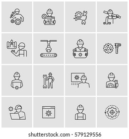 Construction Mechanical Factory Engineering Vector Line Icons