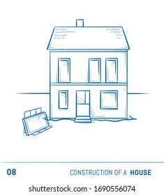 Construction of a modern detached family house. Inserting windows and finished roof. Hand drawn cartoon sketch vector illustration.