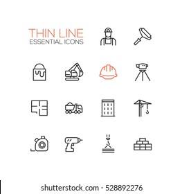 Construction - modern vector simple thin line design icons set. Worker, roller, paint, excavator, hard cap, survey, plan, truck, building, crane drill bricks steel tape
