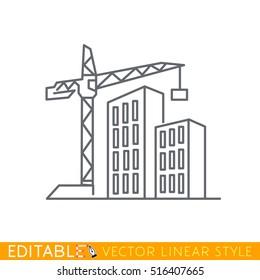 Construção de novos edifícios. Ícone de esboço de esboço editável.