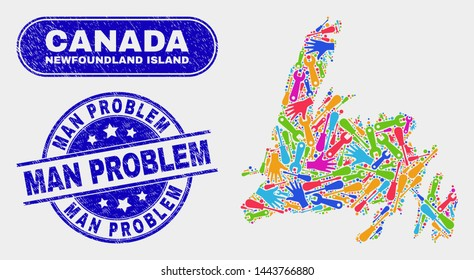 Construction Newfoundland Island map and blue Man Problem textured seal stamp. Colorful vector Newfoundland Island map mosaic of production. Blue round Man Problem stamp.