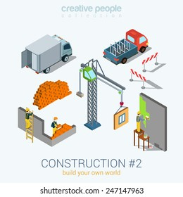 Construction objects set flat 3d web isometric infographic concept vector. Van bricks crane window painter worker staff. Build your world creative people collection.
