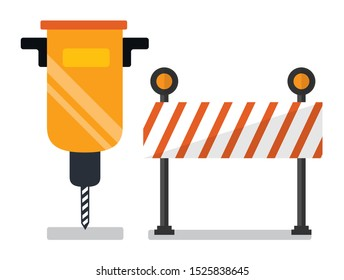 Construction on road vector, isolated auger and stop sign. Wooden board with stripes and lights, drill instrument, building and renovations flat style