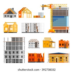 Construction orthogonal icons set with building a house symbols flat isolated vector illustration