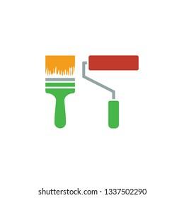 Construction paint brushes iconf. Flat design. Vector illustration.