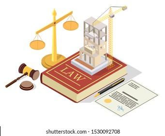 Construction permit vector concept illustration. Isometric juridical symbols Law book, scales of justice, gavel, building permit. Permission for building construction.