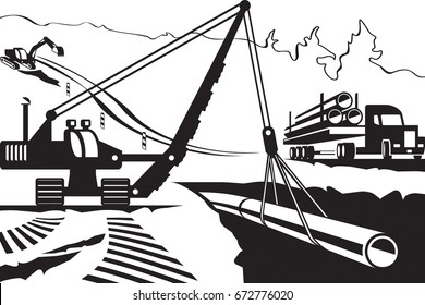 Construction of pipeline through mountain - vector illustration