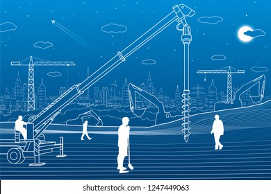 Construction plant. People working. Industry machinery, cranes and bulldozers. Infrastructure buildings illustration. Vector design art