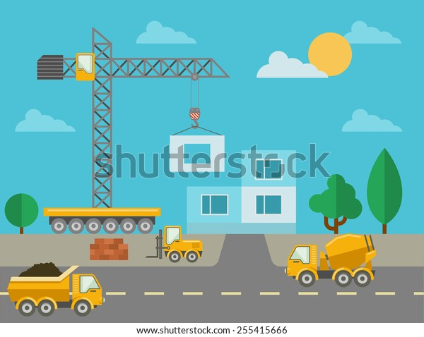 Construction process with construction machines and erected building. Construction site and concrete mixer, tower crane and truck. Vector illustration