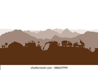construction process silhouette