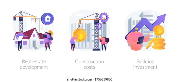 Construction project management abstract concept vector illustration set. Real estate development, construction costs, building investment, buy land, bank loan, financial plan abstract metaphor.