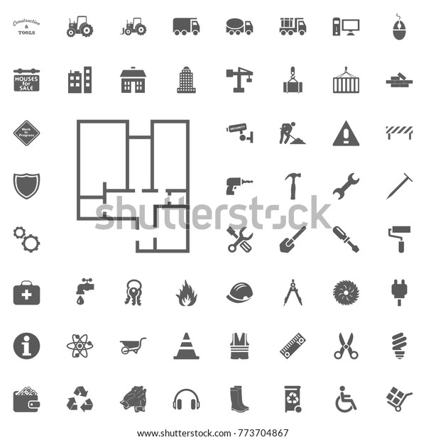 Construction Project Plan Icon Construction Tools Stock