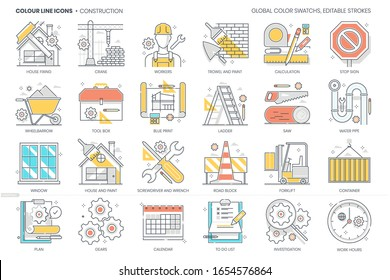Construction related, color line, vector icon, illustration set. The set is about tool, fixing, plan, tool, building, project, real estate, architecture.