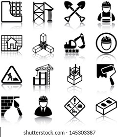 Construction related icons/ silhouettes.