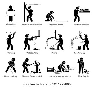 Construction, Renovation, and House Improvement Icons. Pictogram depicts workers and contractors working in different jobs and works at a construction sites.