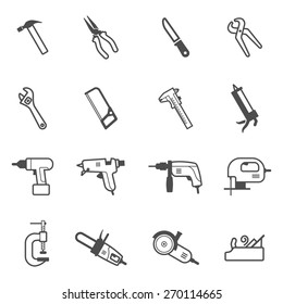 Construction, repair and building mechanic and electric tool icon set. Vector collection