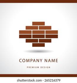 Construction and repair. Real estate company logo design. Brick wall. Vector illustration