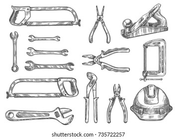 Construction and repair tool sketch set. Vector spanner, pliers, wrench, hacksaw, wire cutters, tape measure, clamp, hard hat, jack plane isolated instrument for carpentry and DIY themes design