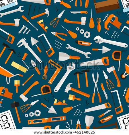 Construction and repair tools seamless pattern wallpaper. Carpentry flat icons background. Carpenter and builder working elements. Vector hammer, axe, ruler ...