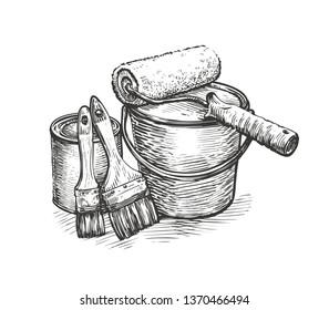 Construction repair, tools sketch. Hardware store vector illustration