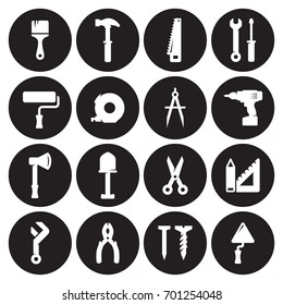 Construction and repair tools, working tools icons