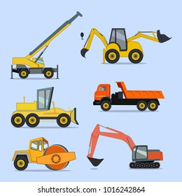 Construction and road machinery. Icons, stickers. Bulldozer, excavator, crane, truck, paver.