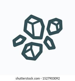 Construction rocks isolated icon, garden stones linear vector icon