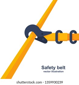 Construction safety belt. Seat belt fastened to the pipe. Template banner for the layout of construction work and security. Vector illustration flat design. Isolated on white background.