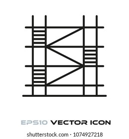 Construction scaffolding flat line icon vector